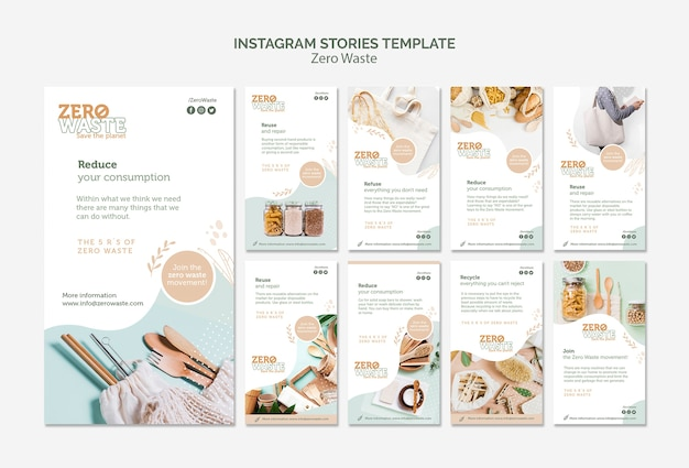 Instagram stories collectionfor zero waste lifestyle Free Psd