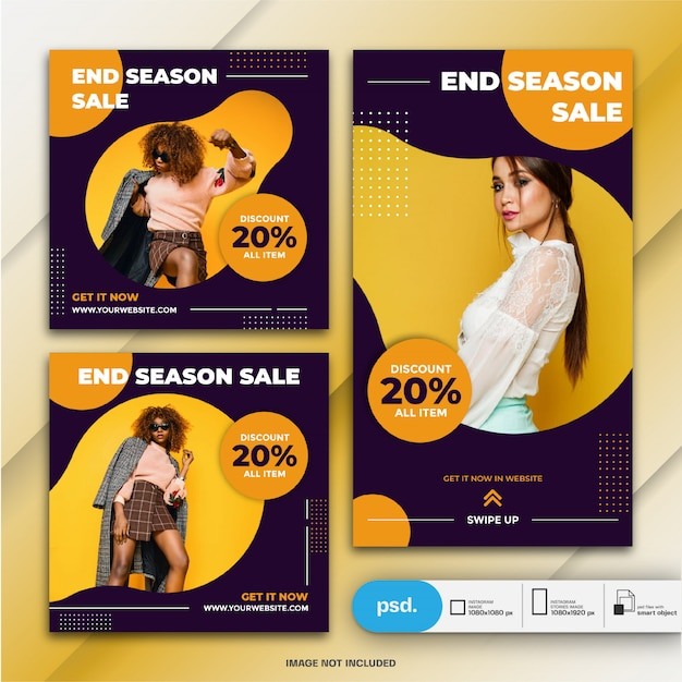 Instagram stories and feed post bundle fasion sale template Premium Psd