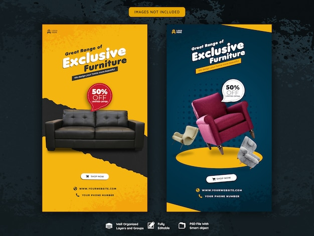 Instagram stories and feed post furniture sale template Premium Psd