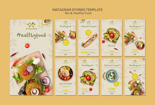 Instagram stories of healthy and bio food template Free Psd