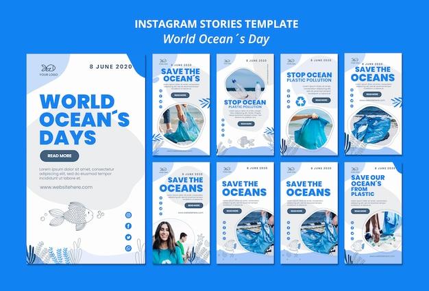 Instagram stories ocean day Free Psd