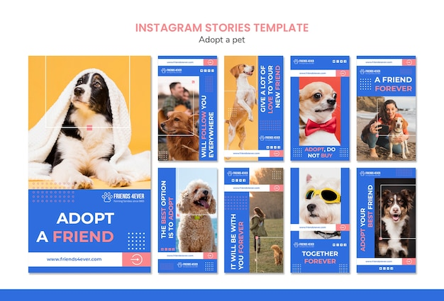 Instagram stories pack for adopting a pet with dogs Free Psd
