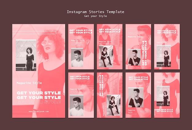 Пакет историй из instagram для журнала в электронном стиле Бесплатные Psd