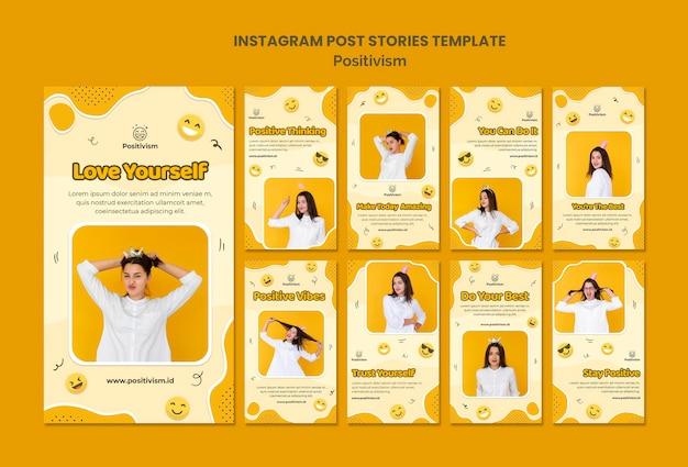 幸せな女性との実証主義のためのinstagramストーリーパック 無料 Psd