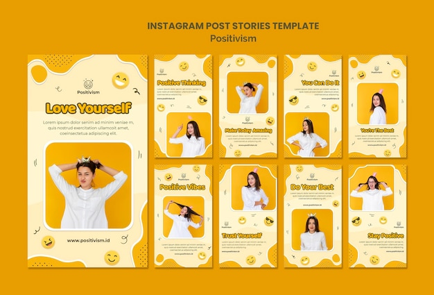 Instagram stories pack for positivism with happy woman Free Psd