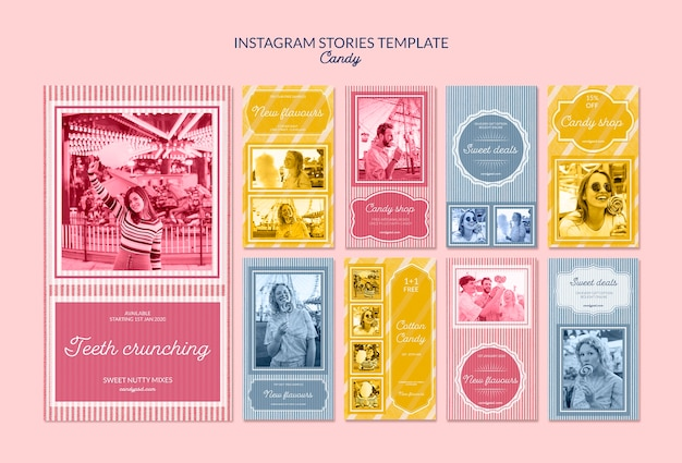 Instagram stories publicity for candy shop Free Psd