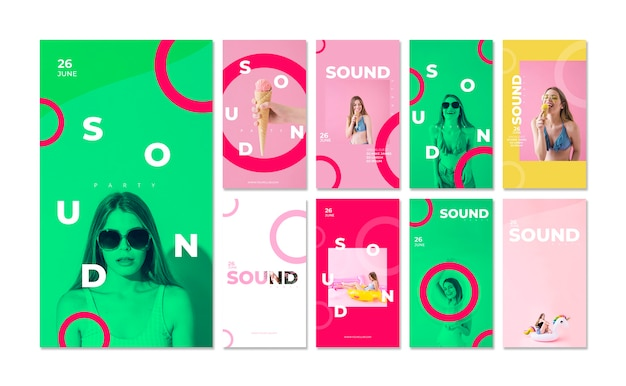 Instagram stories for sound festival Free Psd