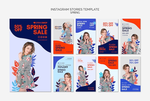 Instagram stories spring sale with woman and leaves Free Psd