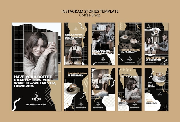 Instagram stories template concept for coffee shop Free Psd