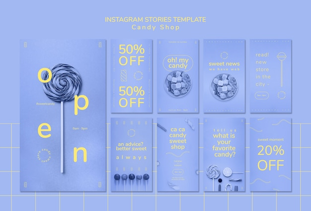 사탕 가게를위한 instagram 이야기 템플릿 무료 PSD 파일