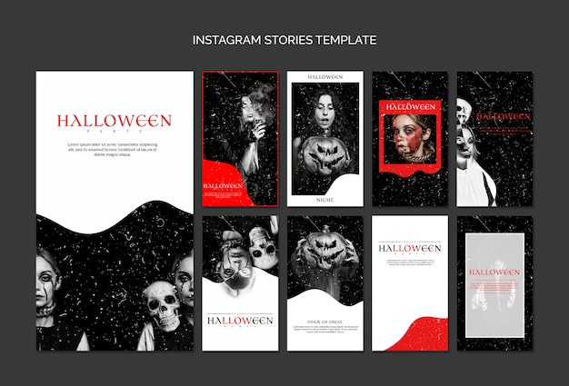 Instagram stories template for halloween Free Psd