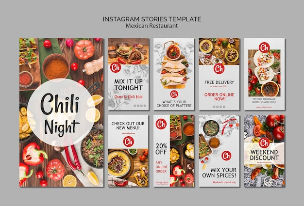 Instagram stories template for mexican restaurant Free Psd