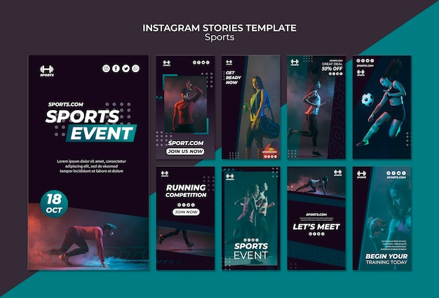 Instagram stories template for sport  event Free Psd