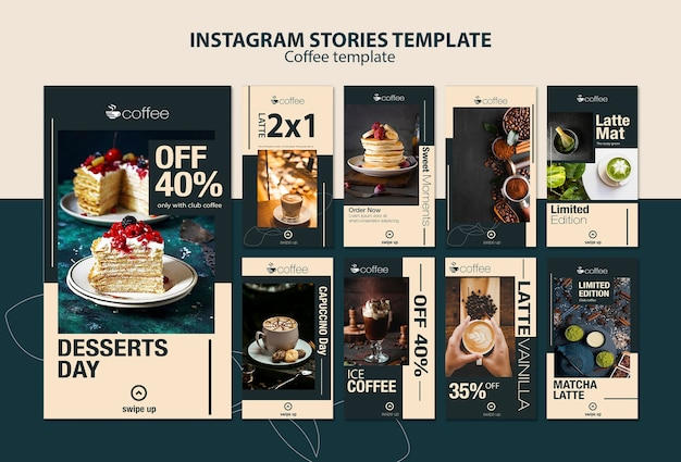 Instagram stories template theme with coffee Free Psd