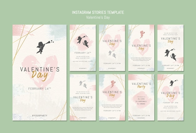 Instagram stories template for valentine's day Free Psd