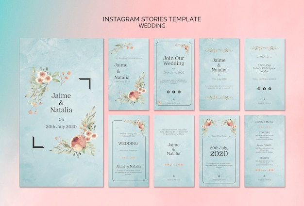 Instagram stories template wedding invitation Free Psd