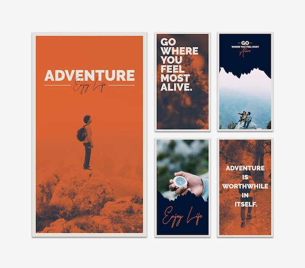 Instagram stories template with adventure concept Free Psd