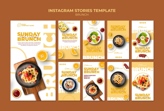Instagram stories template with brunch theme Free Psd