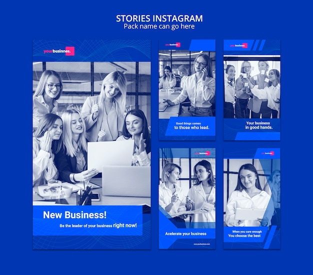 Instagram stories template with business woman Free Psd