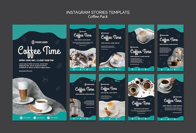Instagram stories template with coffee Free Psd