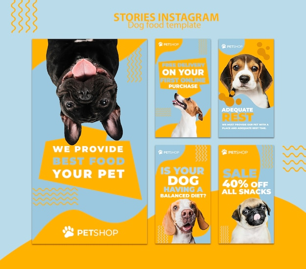 Instagram stories template with dog food Free Psd