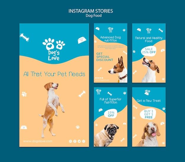 Modello di storie di instagram con cibo per cani Psd Gratuite