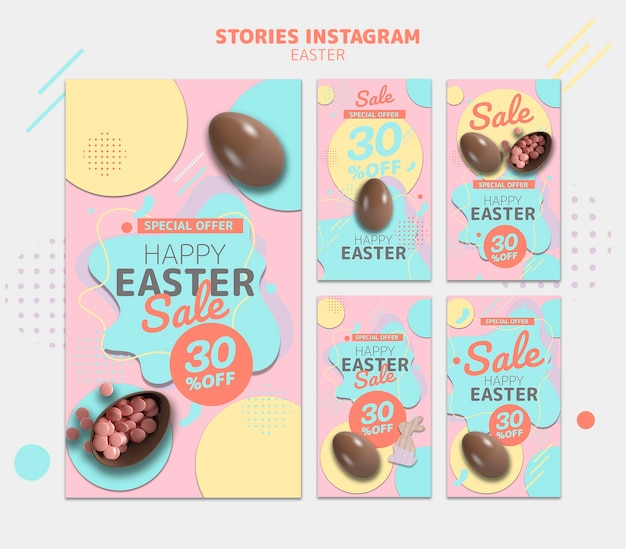 Modello di storie di instagram con la vendita del giorno di pasqua Psd Gratuite