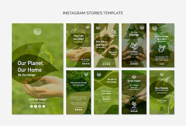 Instagram stories template with environment theme Free Psd