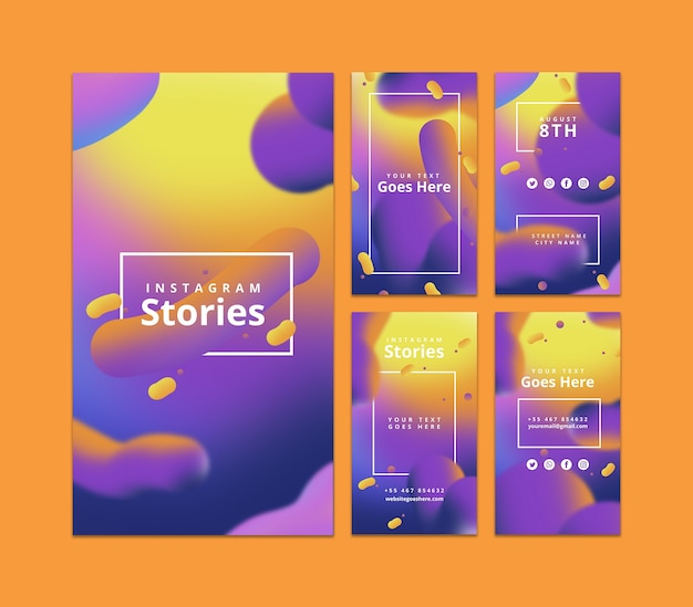 Instagram stories template with fluid background Free Psd