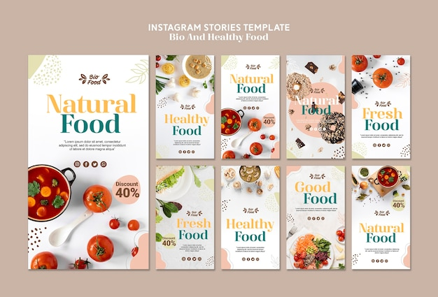 Instagram stories template with healthy food Free Psd