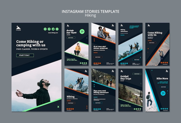 Instagram stories template with hiking theme Free Psd
