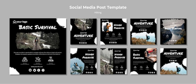 Instagram stories template with hiking Free Psd
