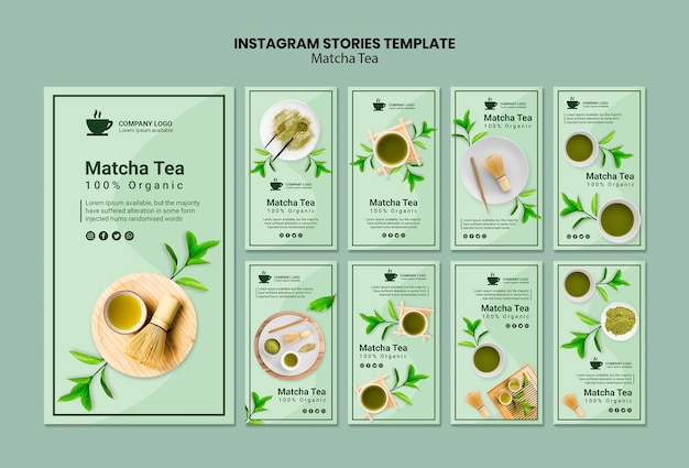 Instagram stories template with matcha tea Free Psd