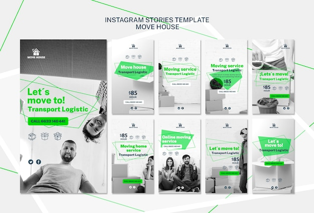 Instagram stories template with moving service Free Psd