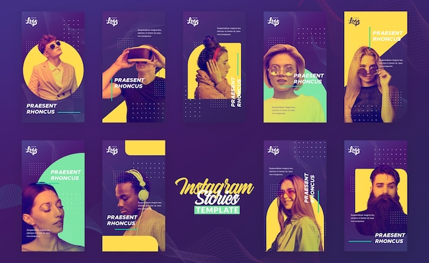 Instagram stories template with people and digital devices Free Psd