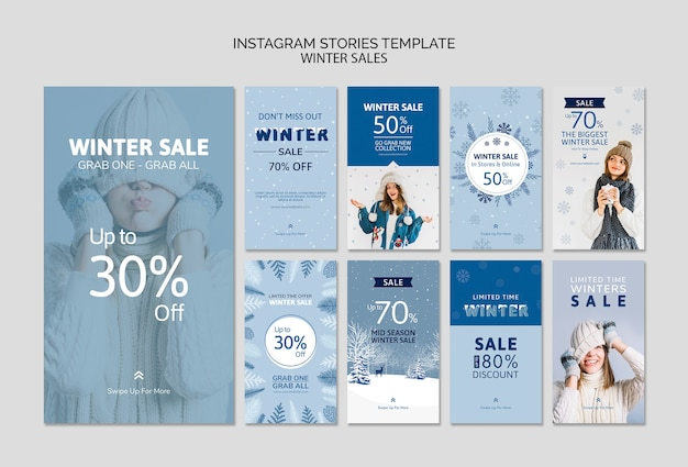 Instagram stories template with sale Free Psd