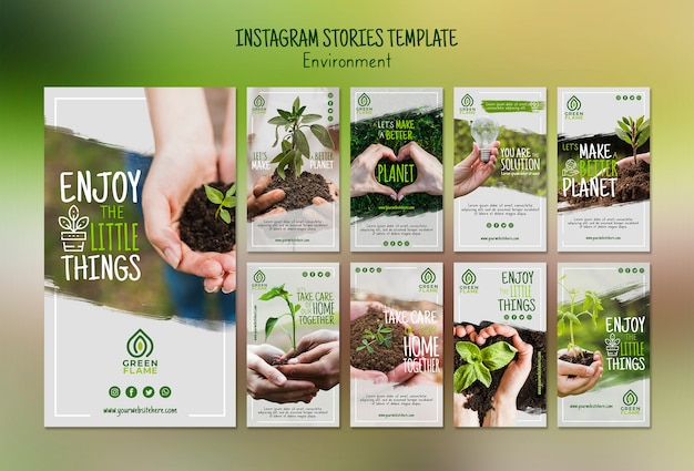 Instagram stories template with save the planet Free Psd