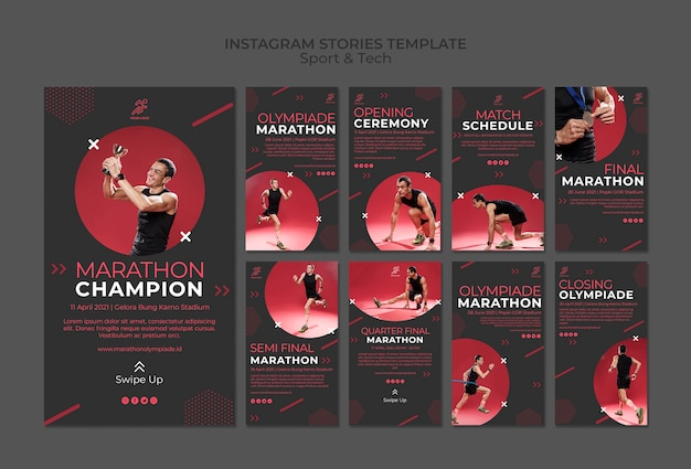 Instagram stories template withsport and tech Free Psd