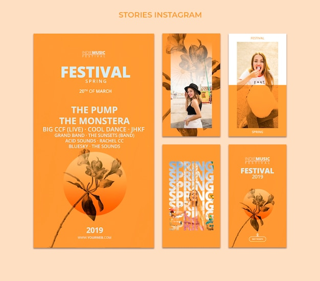 Instagram stories template with spring festival concept Free Psd