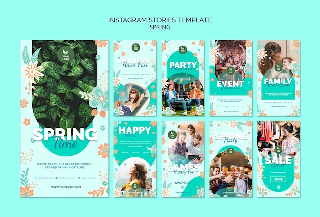 Instagram stories template with spring theme Free Psd