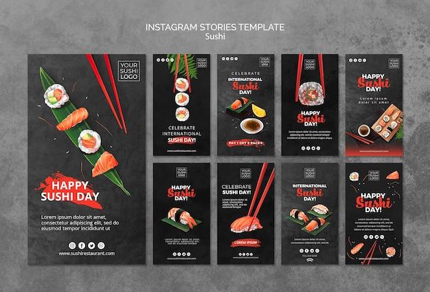 Modello di storie di instagram con il giorno di sushi Psd Gratuite