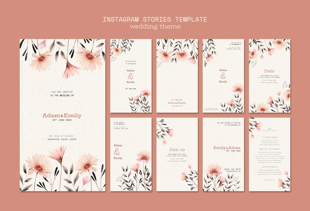 Instagram stories template with wedding concept Free Psd