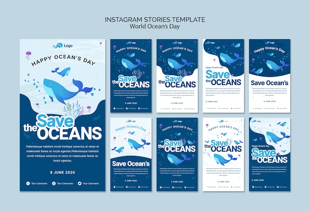 Instagram stories template with world ocean day Free Psd