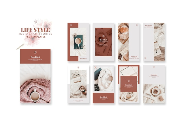 Instagram stories templates for lifestyle Free Psd