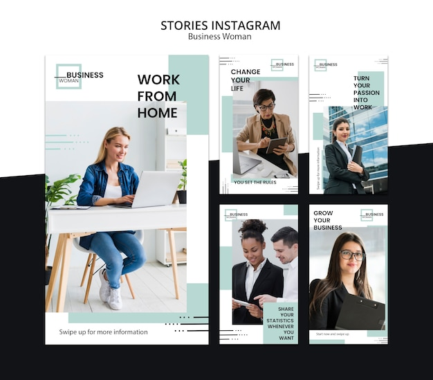 Instagram stories with business woman concept Free Psd