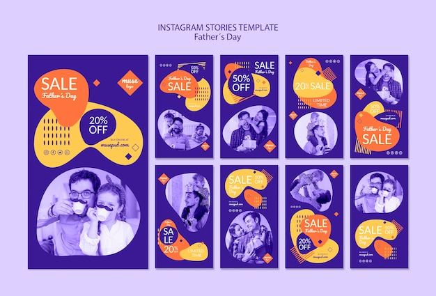 Instagram stories with sales on fathers day Free Psd