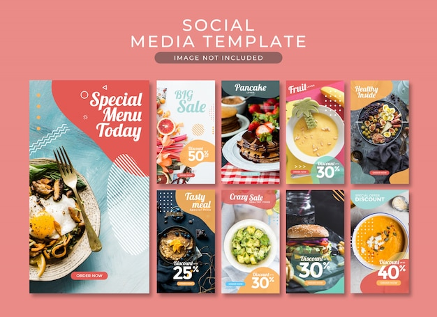 Instagram story post or square banner fast food template collection Premium Psd