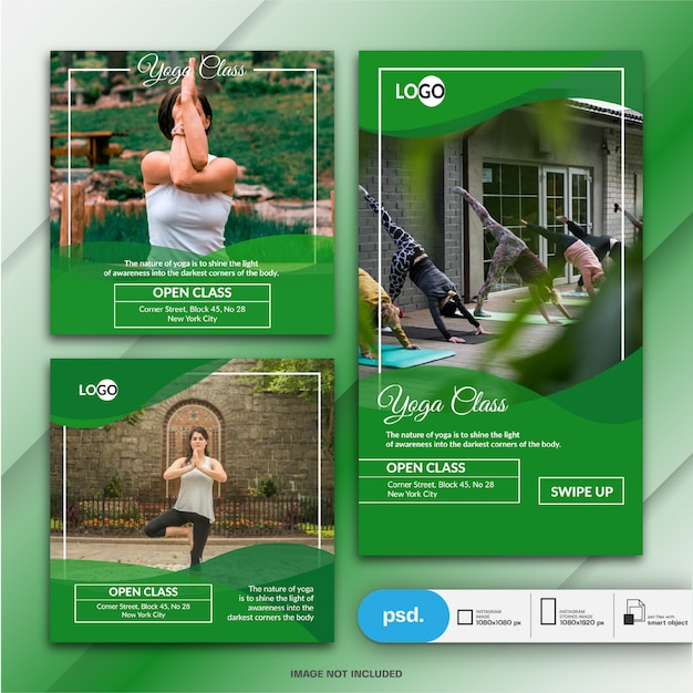 Instagram story and post for yoga class Premium Psd