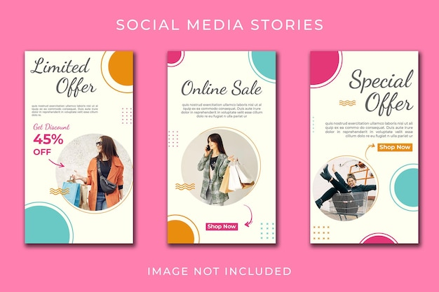 Instagram story or vertical banner for online shop template set Premium Psd