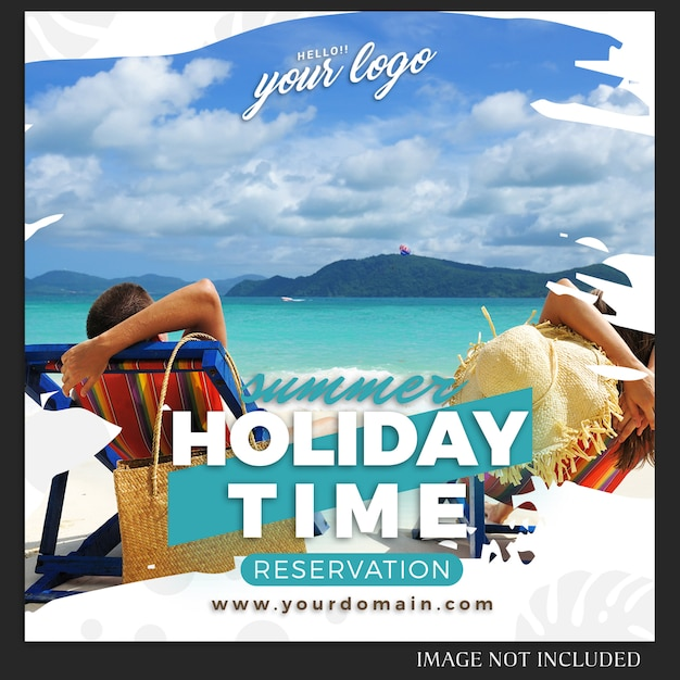Instagram  summer holiday travel post template Premium Psd
